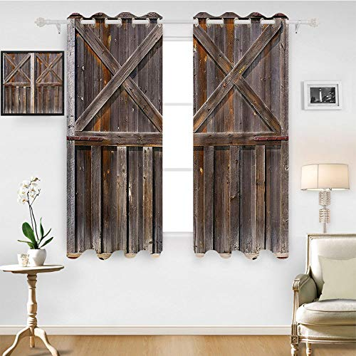 SATVSHOP Blackout Window Curtain - 96W x 108L Inch- Customized Curtains.Rustic Old Wooden Barn Door of Farmhouse Oak Countryside Village Board Ural Life Photo Brown.