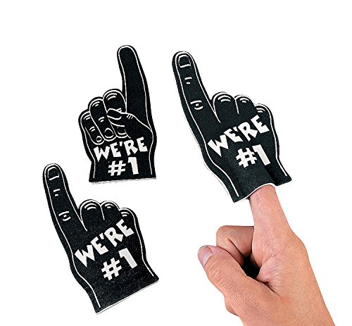Team Spirit Mini Foam Fingers -Black (12 Pack) Finger Puppets (Homecoming Games For Pep Rallies)