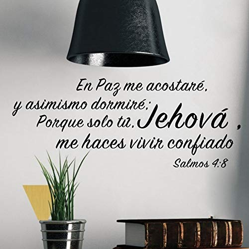 (Tonaes Wall Art Decor Decals Removable Mural Salmos 4:8 Spanish Quote En Paz Me Acostare Living Room)