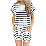 Women's Summer Striped Jumpsuit Casual Loose Short Sleeve Rompers Plus Size White XL