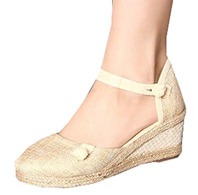 plus récent c2fa3 1503f Amplaue Femmes Chaussures Compensées Espadrilles Talons ...