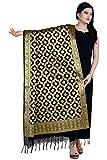 Chandrakala Women's Handwoven Cutwork Brocade Banarasi Dupatta Stole Scarf (Black)