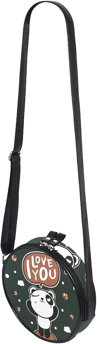 Watercolor Draw Panda Girl Round Crossbody Shoulder Bags Adjustable Top Handle Bags Satchel for Women