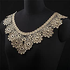 2 PCs Gold Collar Flower Lace Fabric Wedding Dress Lace Accessories