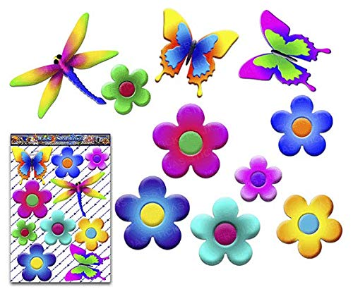 FLOWERS & Flyers Large Butterfly Dragonfly Animal Pack Car Stickers Decals - ST00056_3 - JAS Stickers