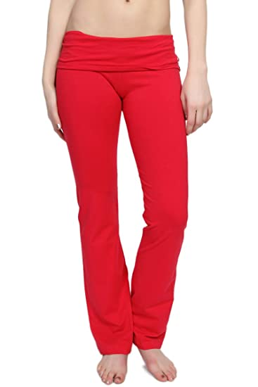 477bdc16fde09 TheMogan Women's Slim Foldover Bootleg Flare Yoga Pants Red S at ...