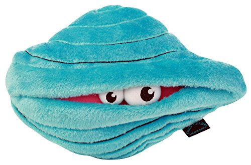 goDog Shellz Clam with Chew Guard Technology Tough Plush Dog Toy, Blue
