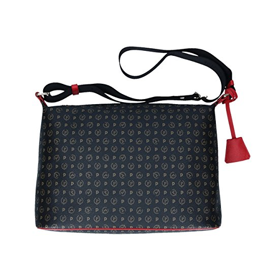 Pollini heritage shoulder bag Tapiro Pvc black red