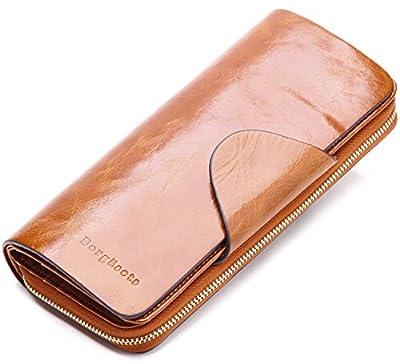 Borgasets Women's Organizer Wallet Leather Large Trifold Zipper Purse