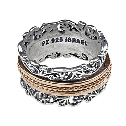 Paz Creations .925 Sterling Silver and Rose Gold over Silver Wide Spinner Ring (10), Made in Israel by PZ (Image #2)