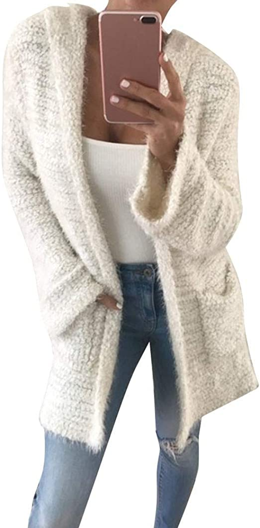 Womens Faux Fur Knitted Mohair Sweater Mid Long Pullover Sweater Plus Size Color