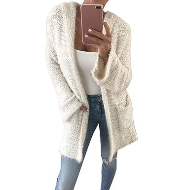 Longra Damen Strickjacke mit Kapuze Jacke Damen Mantel Herbst Winter Pullover Sweater Outwear Kimono Jacken Lang Cardigan Strickmantel Strickpullover