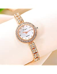 S660 Ladies Women's Luxury Watch on Sale Analog Quartz Crystal Wrist Watches Plated Alloy Round Dial Stainless Steel Strap Clearance Fashion Dress for Woman & Girls (Gold white)