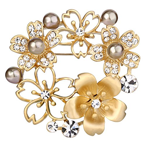 BriLove Women's Wedding Bridal Crystal Simulated Pearl Flower Wreath Brooch Pin Brown Gold-Tone