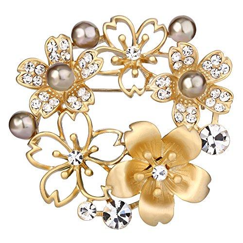 BriLove Women's Wedding Bridal Crystal Simulated Pearl Flower Wreath Brooch Pin Brown - Gold Wreath Pin Tone