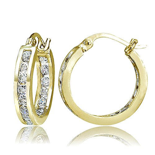 Hoops & Loops Gold Flash Sterling Silver Cubic Zirconia Inside Out Channel-Set 15mm Round Hoop Earrings