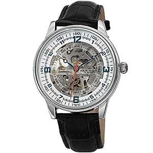 Akribos XXIV AK1073 - Reloj de Pulsera mecánico para Hombre, Correa de Piel auténtica con Relieve de cocodrilo, Esfera Transparente