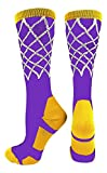 Basketball Net Crew Socks (Purple/Gold, Small)