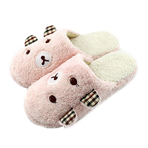 Demiawaking Niedliche Panda Winter Warme Rutschfeste Plüsch Hausschuhe (L-EU 40/41, Pink)