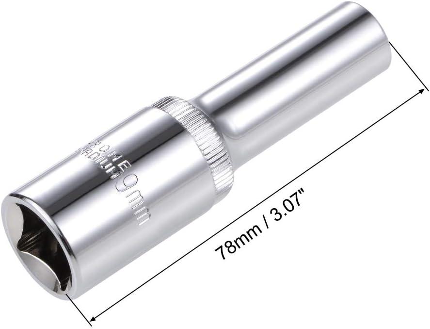 Cr-V Metric uxcell 1//2-inch Drive 22mm 12-Point Deep Socket