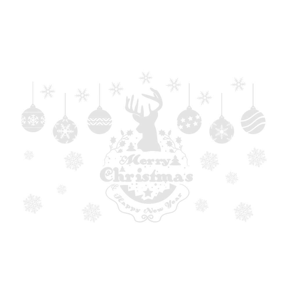 HEALIFTY Adesivi per vetrine natalizie Adesivo murale con fiocchi di neve natalizia Alci smontabili per porte e finestre Decorazione natalizia accessori per feste