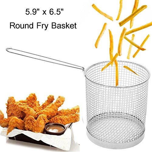 Round Stainless Steel Frying Scampi Basket Spaghetti Pasta Basket Catering Serving Tools Kitchen Cooking Tools (Round Pasta Basket)