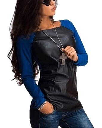 ZhuiKun Damen Langarmshirt PU-Leder Langarm Pullover Bluse Oberteile Tops T- Shirt Bleu XL 0fcbc7b6fe