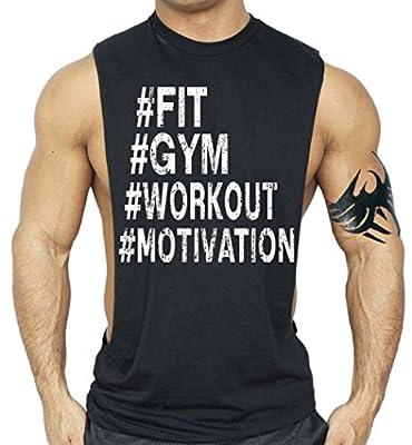 #Fit, Gym, Workout, Motivation T Shirt Bodybuilding Tank Top Black XS-3XL