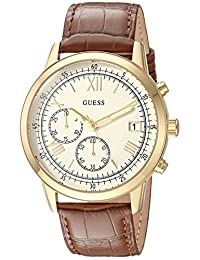 GUESS Men's Quartz Stainless Steel and Leather Casual Watch, Color:Brown (Model: U1000G3)