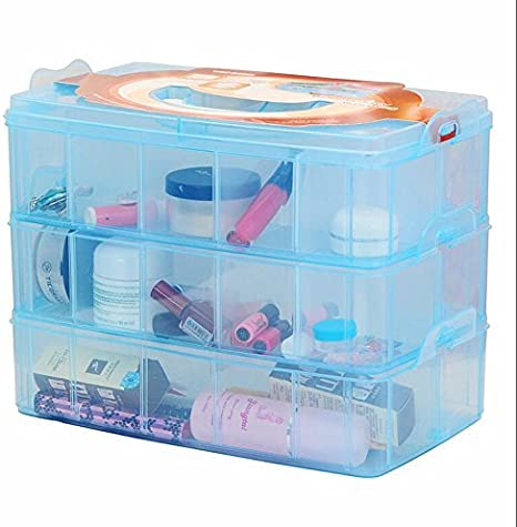 Large White DJUNXYAN 3-Tier 30 Sections Transparent Stackable Adjustable Compartment Slot Plastic Craft Storage Box Organizer for Toy Desktop Jewelry Accessory Drawer Or Kitchen 4 Colors 3 Sizes