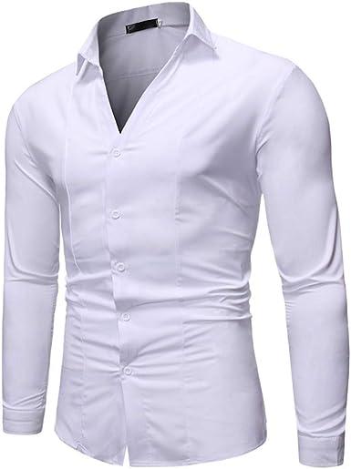 Camisas de Hombre, Dragon868 Estilo Simple Hombres Cuello en V Camisas de Manga Larga botón Suave Blusa: Amazon.es: Ropa y accesorios