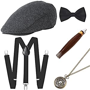 BABEYOND 1920s Mens Gatsby Costume Accessories Set Includes Panama Hat Elastic Y-Back Suspender Pre Tied Bow Tie Pocket Watch and Plastic Cigar (Set-2)