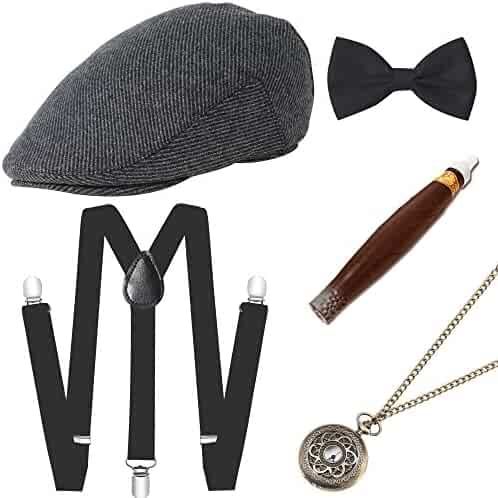 BABEYOND 1920s Mens Gatsby Gangster Costume Accessories Set Manhattan  Fedora Hat Suspenders 2fadbbec33b8