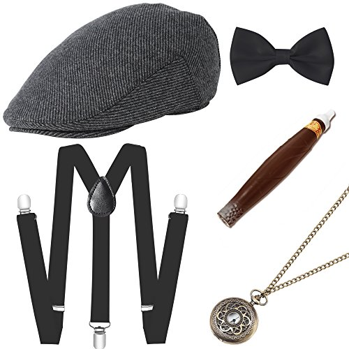 BABEYOND 1920s Mens Gatsby Costume Accessories Set Includes Panama Hat Elastic Y-Back Suspender Pre Tied Bow Tie Pocket Watch and Plastic Cigar (Set-2) -