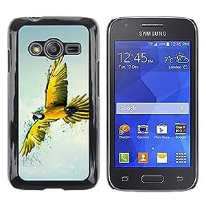 TopCaseStore / la caja del caucho duro de la cubierta de protección de la piel - Parrot Yellow Blue Colorful Flying Bird Nature - Samsung Galaxy Ace 4 G313 SM-G313F
