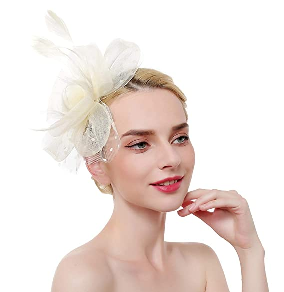 aaabb118e53b9 MAKELIFE Feather Fascinator Hair Clip Women Bowknot Kentucky Derby Cocktail  Wedding