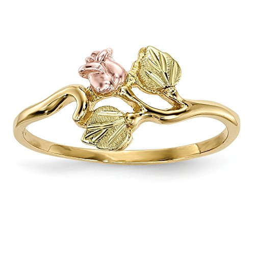 - 10k Tri Color Black Hills Gold Rose Band Ring Size 7.00 Flowers/leaf Fine Jewelry Gifts For Women For Her