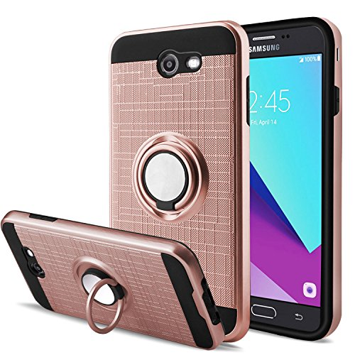 Cases for Samsung Galaxy J3 Luna Pro/J3 Eclipse/J3 Emerge/J3 Mission/Amp Prime 2/J3 Prime/Express Prime 2 with Screen Protector,AnoKe 360 Degree Rotating Ring Holder Kickstand for J3 2017 ZS Rose Gold