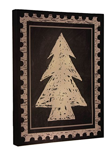 Christmas Tree Light Up Canvas Wall Hanging by Clever Creations | Postage Stamp Design | Bright LEDs | Festive Holiday Décor | Attached Hanging Mount | Measures 12
