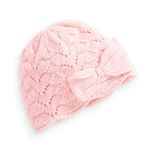 Tou Baby Girl's Winter Hats Crochet Hats Christmas Bowknot Hats Pink and Red (12-24M, Pink)