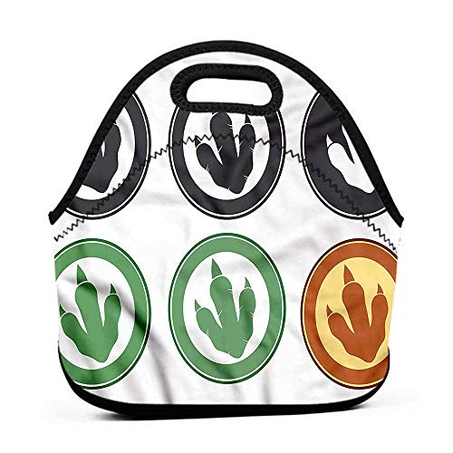 Rugged Lunchbox Dinosaur,Carnivore Footprint Circle,book bag and lunch box set for girls ()