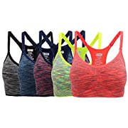 Henny Rue Women's Comfort Sports Bra Low Support Workout Yoga Bras Pack of 5 S