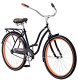 Schwinn Baywood Cruiser Bike Line, Featuring Steel Step-Through Frame and Single-Speed Drivetrain with Full Wrap Fenders, 26-Inch Wheels, Navy Blue