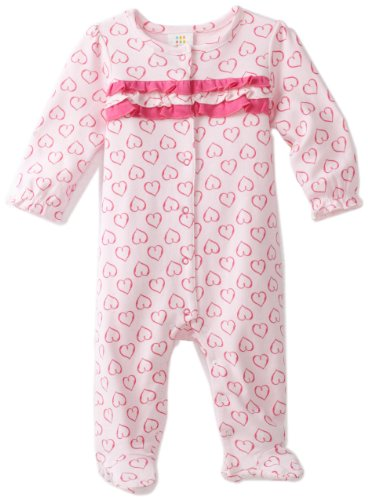 ABSORBA Baby-Girls Newborn Heart Print Footie