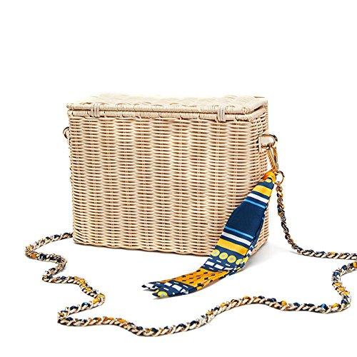 Bolsa de hombro tejida Futurepast Bolsa de asas de verano bolso trenzado Bolso bohemio Bolso de playa retro para fiestas, compras, excursiones, camping. Beige