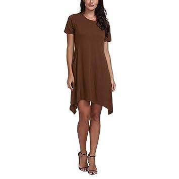 992459b73ac1f Women Dress Daoroka Ladies Long Sleeve Pocket Casual Loose Swing Plain  Simple Plus Size Cotton Solid