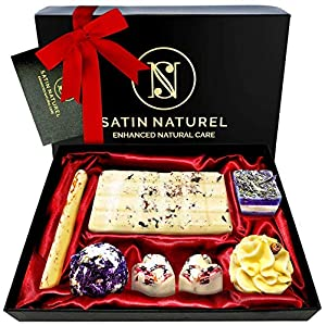 7 Bombes de Bain BIO à l'Huile Essentielle – Coffret Cadeau Femme Vegan – Idée Cadeau Femme de Luxe avec Nœud en Satin…
