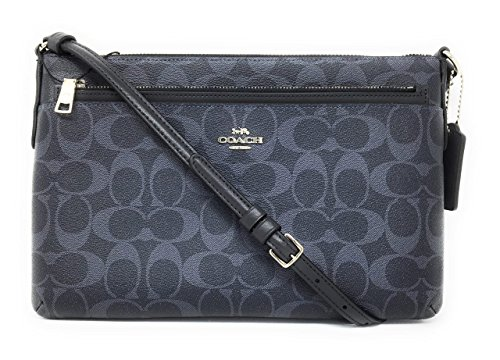 COACH Signature East West Crossbody with Pop-Up Pouch in Denim Midnight