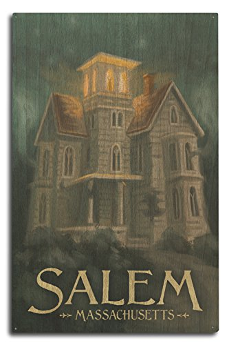 - Lantern Press Salem, Massachusetts - Haunted House - Halloween Oil Painting (10x15 Wood Wall Sign, Wall Decor Ready to Hang)