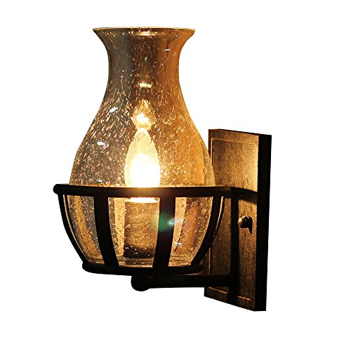 JinYuZe Retro Rustic Wall Sconce Light with Clear Seeded Glass Vase Lamp Shade for Porch Lighting